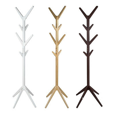 8 Hooks 3 Colors Coat Hat Bag Clothes Rack Stand Tree Style Hanger Wooden Stand