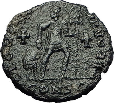 GRATIAN 367AD Very RARE Ancient Roman Coin Chi-Rho Labarum & Crosses i59358