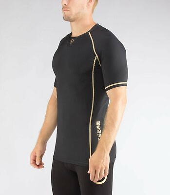 Men's BioCeramic Short Sleeve Compression V-Neck (Au1) in Black