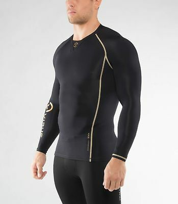 Men's BioCeramic Long Sleeve Compression V-Neck (Au2) in Black