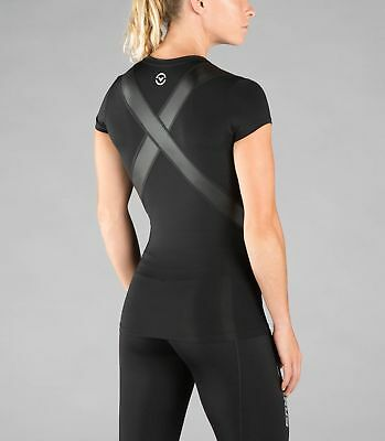 Women's Stay Cool Short Sleeve X-Form Compression V-Neck (ECo11X) Black
