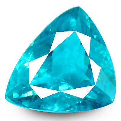 4.35ct DAZZLING NATURAL EARTH MINED AAA NEON PARAIBA BLUE COLOR TRILLION APATITE