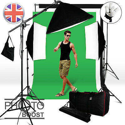 2850W Softbox Boom Arm Continuous Lighting Kit 3 Cotton Muslin Background Stand