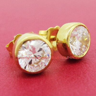 Genuine Solid 9K Yellow Gold Stud Engagement Wedding Earrings Simulated Diamonds