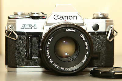 Canon AE-1 film camera with FD 50mm f1.8 SC kit lens