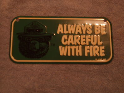 Green Smokey Bear Metal tin sign license
