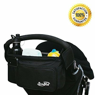 STROLLER ORGANIZER Made For Parents With Cup & Bottle Large Storage Space