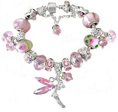 Girls Pink Fairy Swarovski Beads European S Plated Charm Bracelet Stamped 925