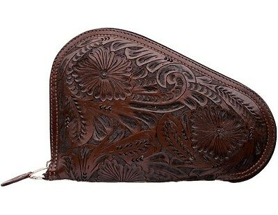 3D Western Pistol Case Padded Leather Floral S Chocolate PI10