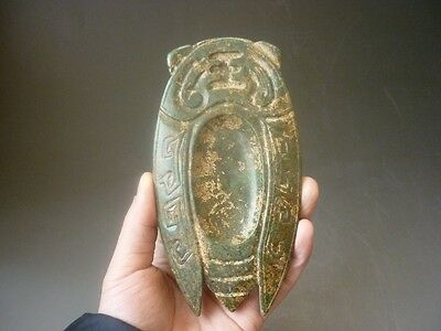 Chinese antiques, noble collection, manual sculpture, jade, cicada, inkstone YT5
