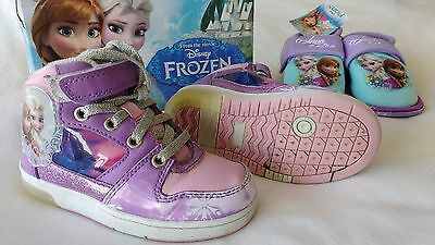 Disney Frozen Light Up High Top Trainers & New Slippers Uk Size 8 & 10 Infant