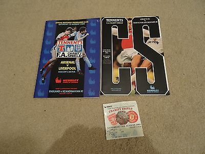 Two Arsenal Charity Shield programmes (1989 and 1991) and one ticket (1993)