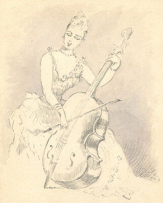 Late 19th Century Graphite Drawing - Lady Playing the Cello