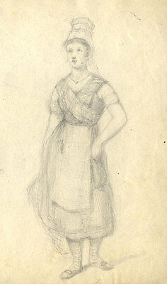 Late 19th Century Graphite Drawing - Portrait of a Maid