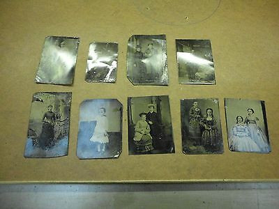9 OLD VINTAGE ANTIQUE TINTYPE PHOTO'S of PRETTY SMILING YOUNG TEEN GIRL & more