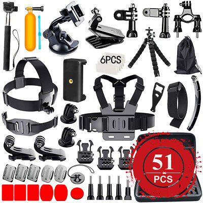 51 PCS Pack Accessories Case Head Chest Monopod Surf Mount for GoPro Hero 5 4 3+