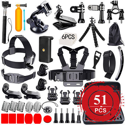 68PCS Pack Accessories Case Head Chest Monopod Surf Mount for GoPro Hero 5 4 3+
