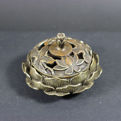 Collectible Decor Old Handwork Copper hollow out Carved Lotus Incense Burner