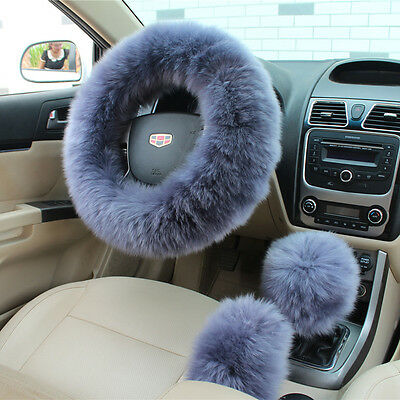 UK Seller Warm Soft Wool Long Plush Fuzzy Car Gray Blue Steering Wheel Cover