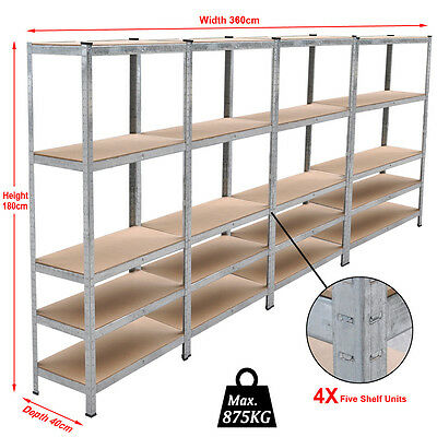 4 Bay Garage Shelving Unit Heavy Duty 5 Tier Shelf Steel Boltless Racking