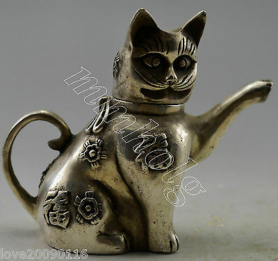 Collectible Decorated Old Handwork Silver Plate Copper Carved Cat Tea Pot