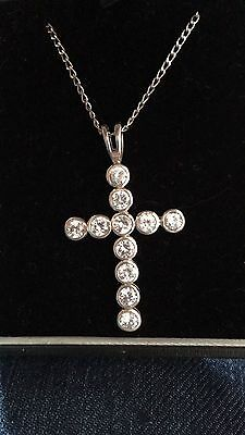 Large Silver 925 Cross Set With Sparkly Crystal Stones On Silver Chain