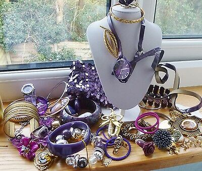 Huge  Pack Costume Jewellery  For Craft Spares ,or To  Sell On  Purple Tones