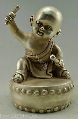 Collectible Decorated Old Handwork Silver Plate Copper Carved Monk Drum Statue