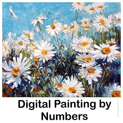 """20x16"""" Digital Paint By Number Kit. Fabric Canvas & 24 Colours. Art Picture Gift"""