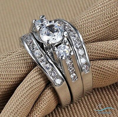 Trio Wedding Ring Set His and Hers Diamond Engagement Bridal Band 14k White Gold