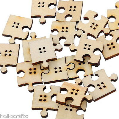 90PCs Mixed 4 Holes Wooden Buttons Puzzle Pattern Fit Sewing and Scrapbook
