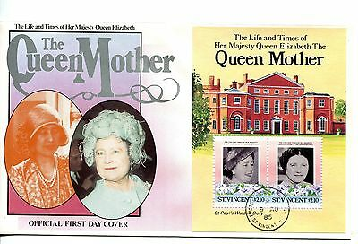 St Vincent 1985 Queen Mother  MS FDC