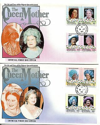 St Vincent Grenadines 1985 Queen Mother set of 2 FDC