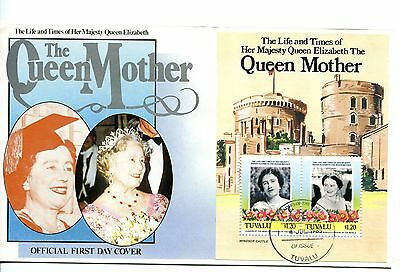 Tuvalu 1985 Queen Mother MS FDC