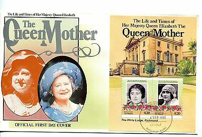 Tuvalu Nukulaelae 1985 Queen Mother MS FDC
