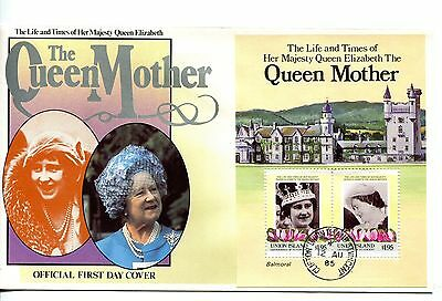 Union Island 1985 Queen Mother MS FDC