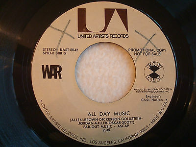 "War ""All Day Music"" United Artists 7"" 45 PROMO VG++"