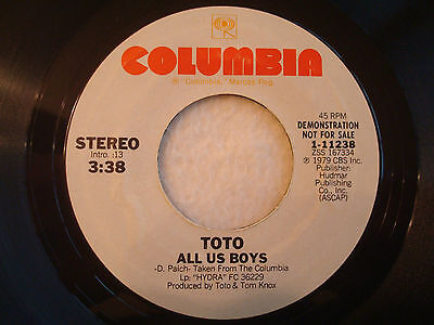 "Toto ""All Us Boys"" Columbia 7"" 45 PROMO VG++"