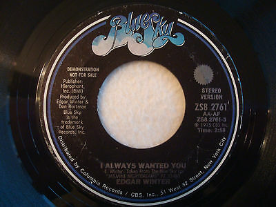 "Edgar Winter ""I Always Wanted You"" Blue Sky 7"" PROMO Strong VG"
