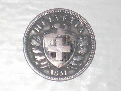 World Coins - Switzerland - 2 Rappen - 1851