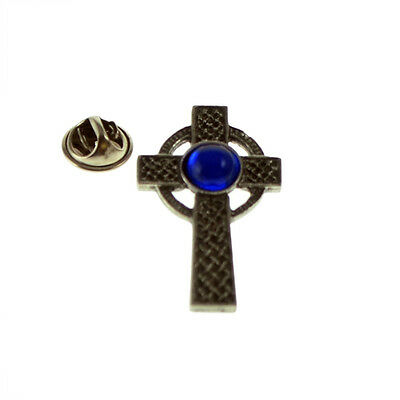 Interlaced Cross with Blue Gem Pewter Lapel Pin Badge XWTP100