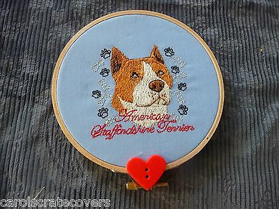 American Staffordshire Head Embroidered Wall Hanging Handmade 5 inch wooden hoop