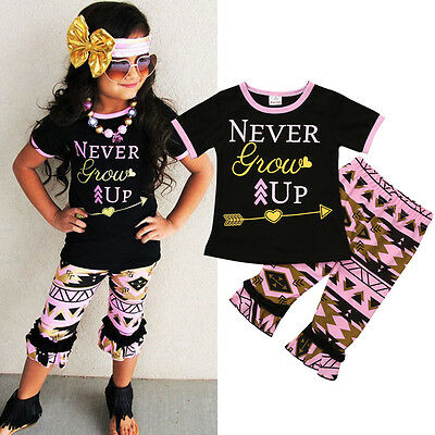 Toddler Kids Baby Girl T-shirt Tops+ Short Pants Summer Clothes Outfits USA