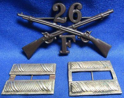 WWI 26th Infantry Reg. F Company Officer Badge and Captain Insignia Set Lot Of 3