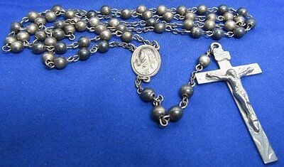 WWI to WWII Sterling Army, Navy, USMC Catholic Rosary Cross and Beads