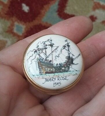 Pretty Halcyon Days Enamel Mary Rose Sailing Ship 1545 Trinket Box