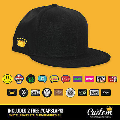 Custom Crowns™ Black Baseball Ball Snapback Cap - INCLUDES 2 x FREE Patches!