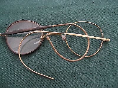 Vintage Reading Glasses Odd Frames Tortoiseshell Gold Metal Wire Arms