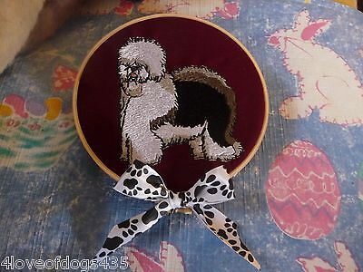Old English Sheepdog Body Embroidered Wall Hanging Handmade 5 inch wooden hoop