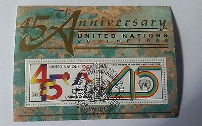 United Nations 45TH Anniv. Souviner Sheet 1990 Canceled FDC